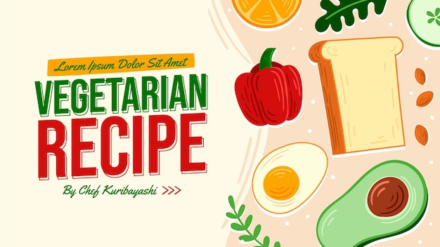 Handgetekend vegetarisch recept youtube thumbnail