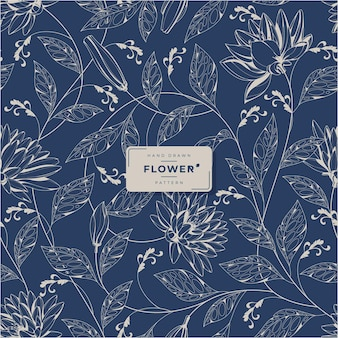 Handgetekend vintage bloemenpatroon