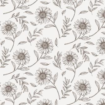 Handgetekend vintage botanisch patroon