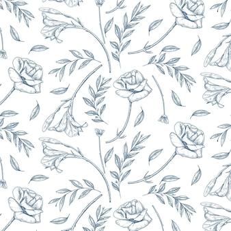 Handgetekend vintage botanisch patroon Premium Vector