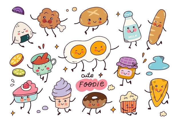 Handgetekend voedsel in kawaii-stijl vectorelement