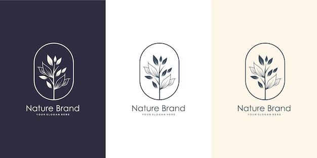 Handgetekend vrouwelijk natuurmerk. logo voor spa salon, huid, schoonheid, boetiek, natuurlijk, blad, boom en cosmetica.