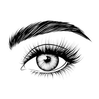 Handgetekend vrouwelijk oog