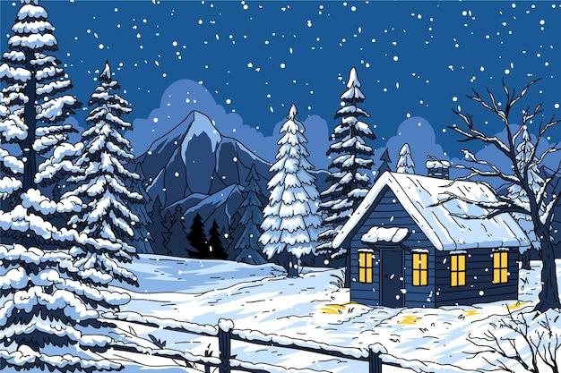 Handgetekend winterlandschap
