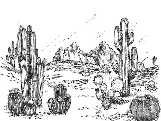 Handgetekend woestijnlandschap