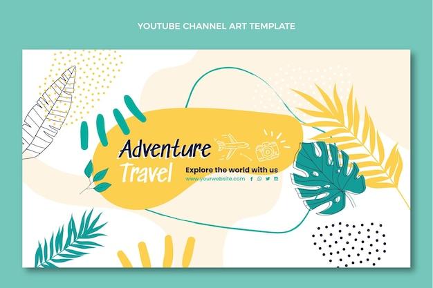 Handgetekend youtube-kanaal voor avontuurlijke reizen
