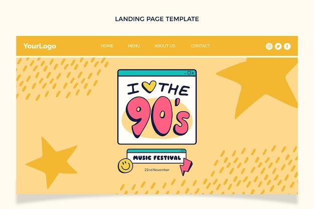 Handgetekende 90s muziekfestival bestemmingspagina