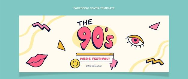 Handgetekende 90s muziekfestival facebook cover