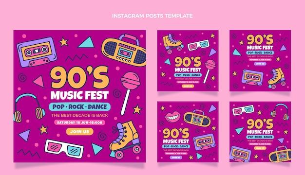 Handgetekende 90s muziekfestival instagram post