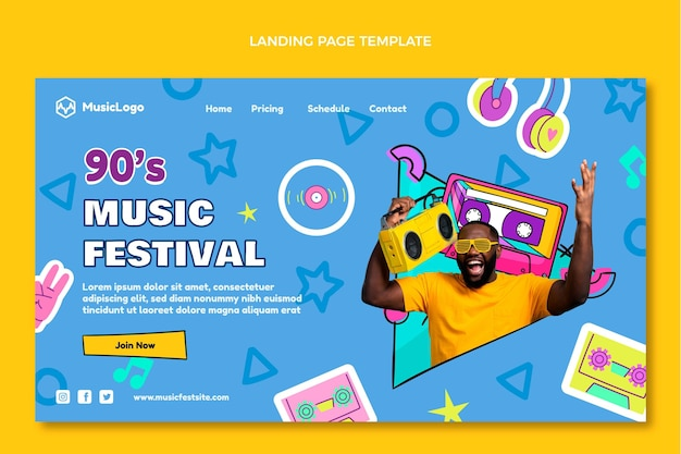 Handgetekende 90s nostalgische muziekfestival bestemmingspagina