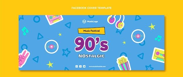 Handgetekende 90s nostalgische muziekfestival facebook cover