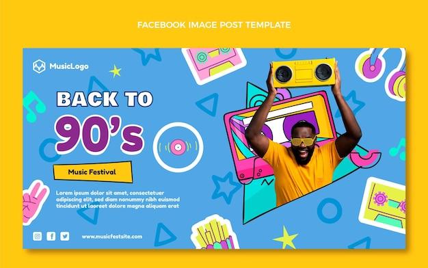 Handgetekende 90s nostalgische muziekfestival facebook post