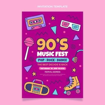 Handgetekende 90s nostalgische muziekfestivaluitnodiging