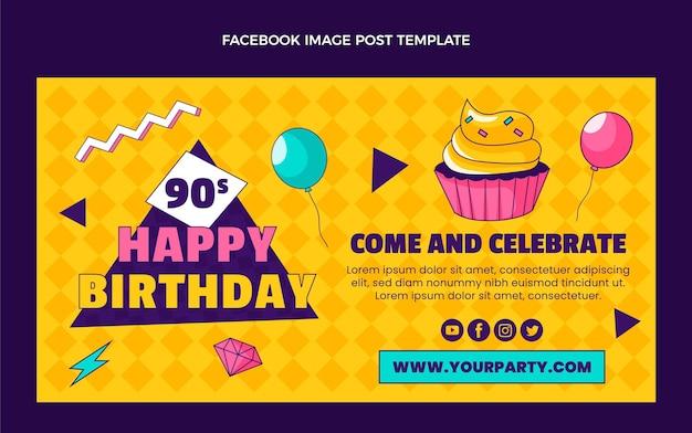 Handgetekende 90s verjaardag facebook postsjabloon