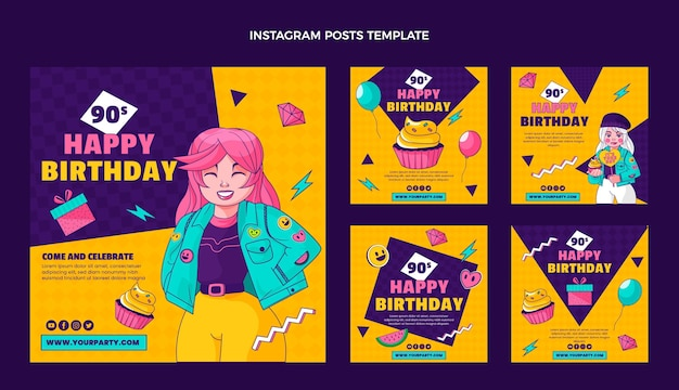 Handgetekende 90s verjaardag instagram postsjabloon