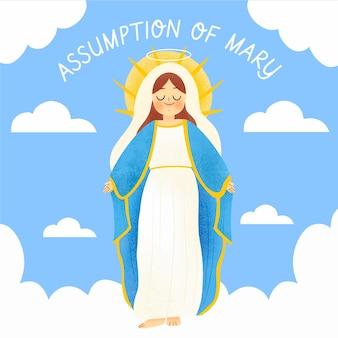 Handgetekende aanname van maria illustratie