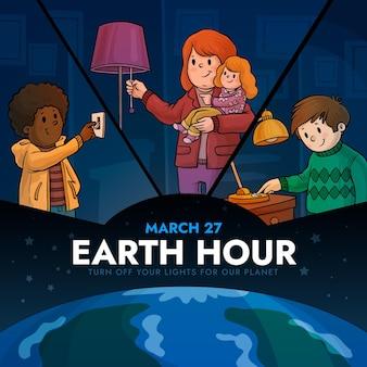 Handgetekende aarde uur illustratie met mensen en gloeilamp
