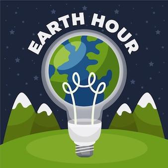 Handgetekende aarde uur illustratie met planeet en gloeilamp
