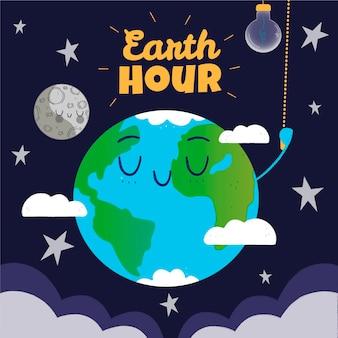 Handgetekende aarde uur illustratie met planeet en gloeilamp Premium Vector