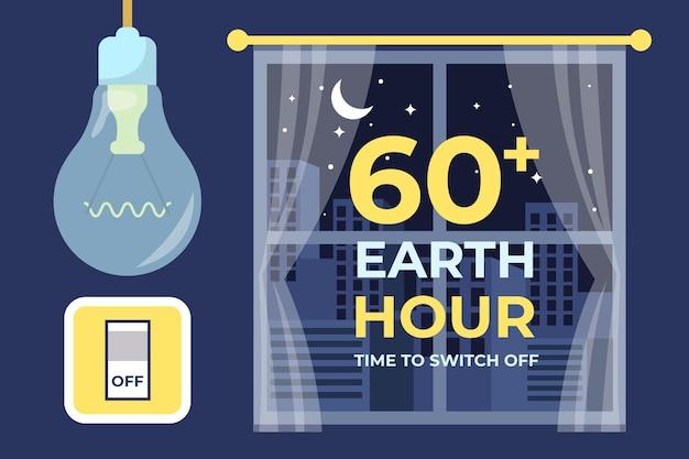 Handgetekende aarde uur illustratie met raam en gloeilamp