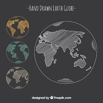 Handgetekende aarde wereldbol in drie kleuren