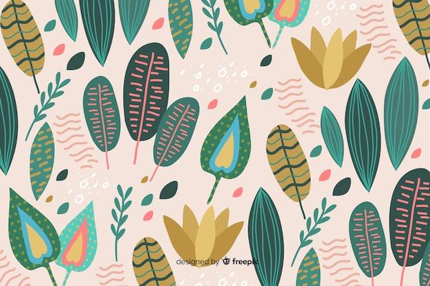 Handgetekende abstract floral achtergrond