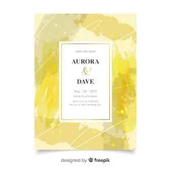 Handgetekende abstracte bruiloft uitnodiging sjabloon