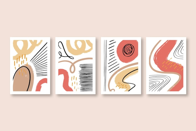 Handgetekende abstracte kunstomslagcollectie