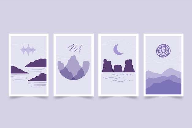 Handgetekende abstracte landschapsomslagcollectie