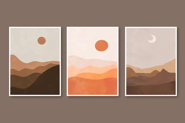 Handgetekende abstracte landschapsomslagen