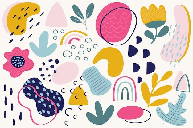 Handgetekende abstracte organische vormen achtergrond