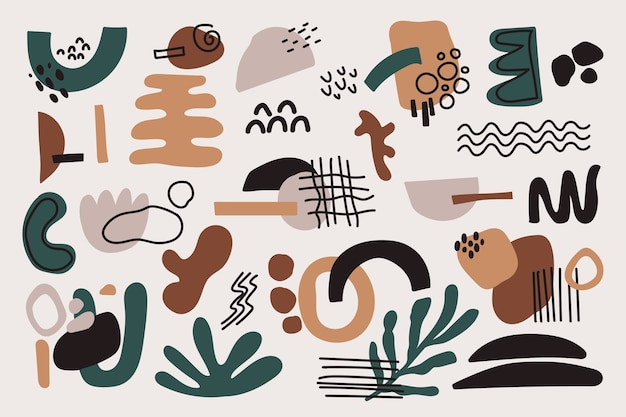 Handgetekende abstracte organische vormen achtergrondthema