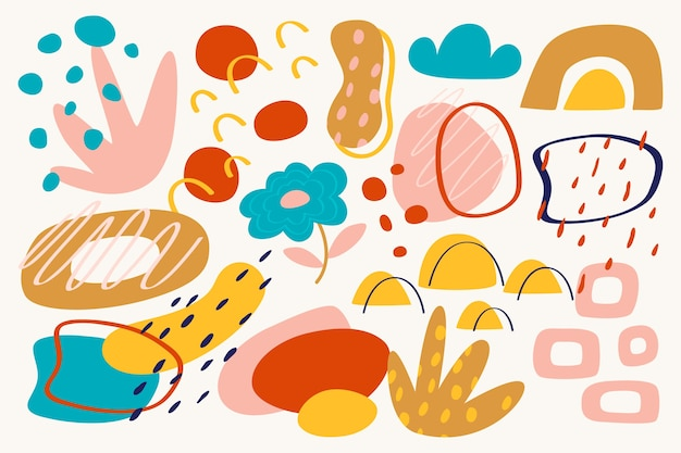 Handgetekende abstracte organische vormen behang