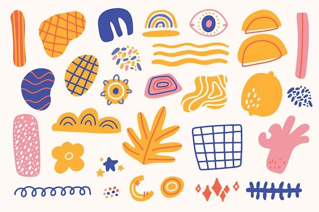 Handgetekende abstracte organische vormen behangstijl