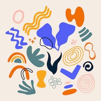 Handgetekende abstracte vormcollectie