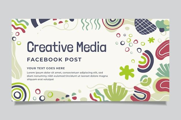 Handgetekende abstracte vormen facebook post