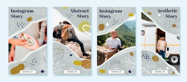 Handgetekende abstracte vormen instagram verhalen met foto