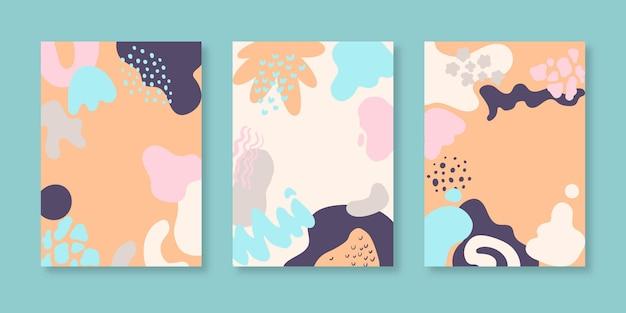 Handgetekende abstracte vormen omslagcollectie