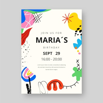 Handgetekende abstracte vormen verjaardagsuitnodiging sjabloon
