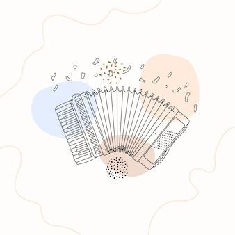 Handgetekende accordeon in lijnkunststijl