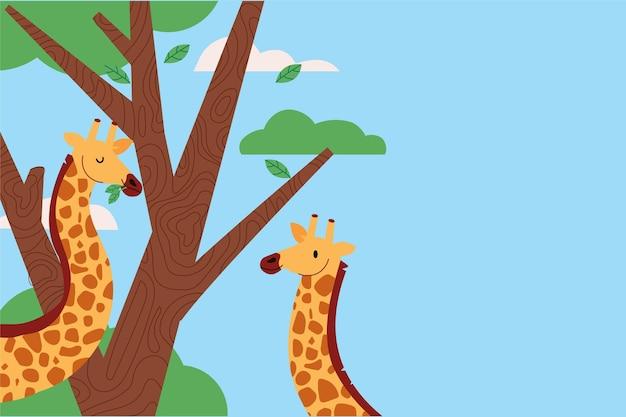 Handgetekende achtergrond met giraffen