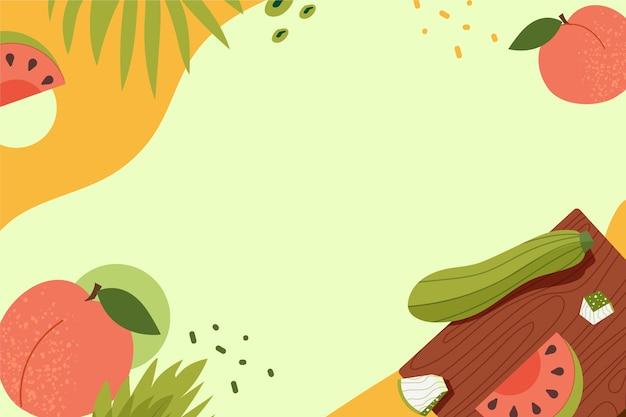 Handgetekende achtergrond met groenten en fruit