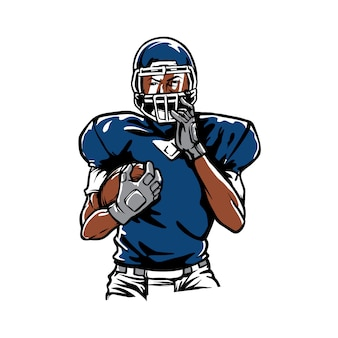 Handgetekende american football logo mascot