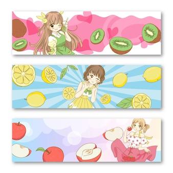Handgetekende anime-banners