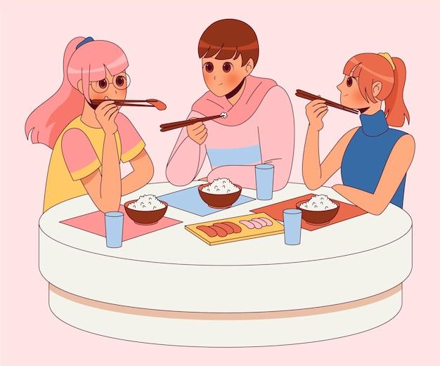 Handgetekende anime-mensen die in een restaurant eten