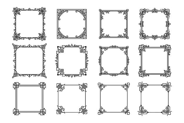 Handgetekende antieke vierkante randen en kaders