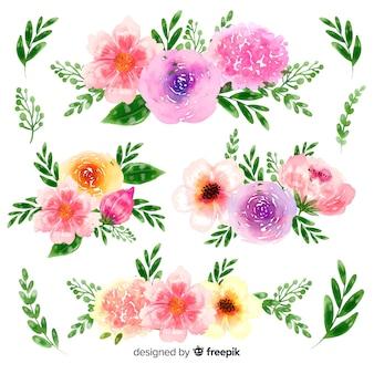 Handgetekende aquarel bloemen boeket collectie