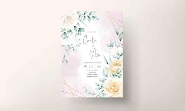 Handgetekende aquarel bloemen frame bruiloft uitnodigingskaart