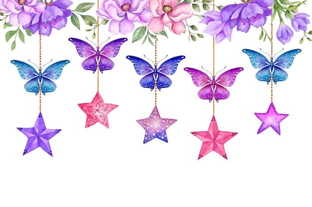 Handgetekende aquarel bloemenachtergrond met hangende vlinders en sterren