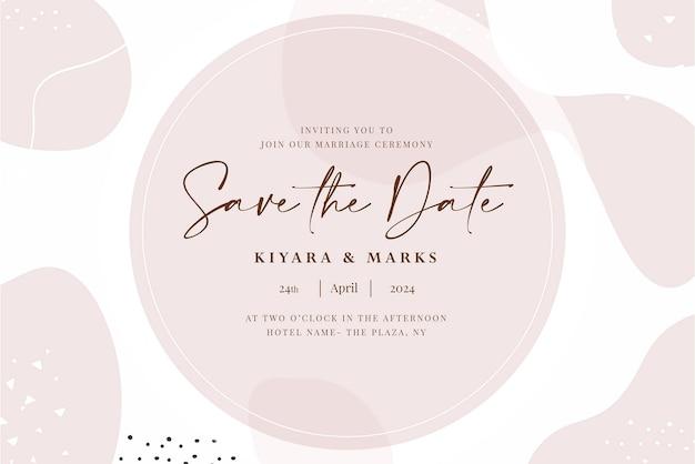 Handgetekende aquarel bruiloft bewaar de datumkaartsjabloon